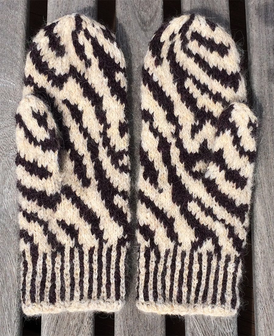 Zebra Mittens designed by Esther Hartley