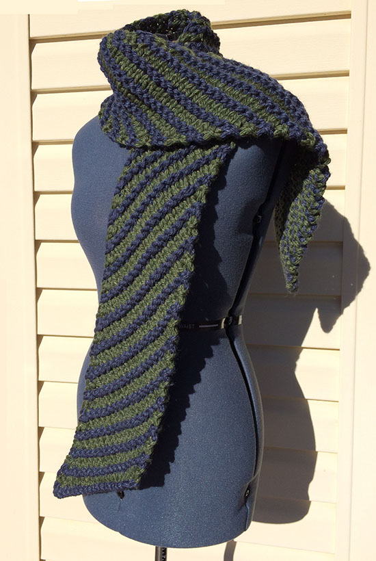 Outland Scarf long Big Wool Silk blue and green