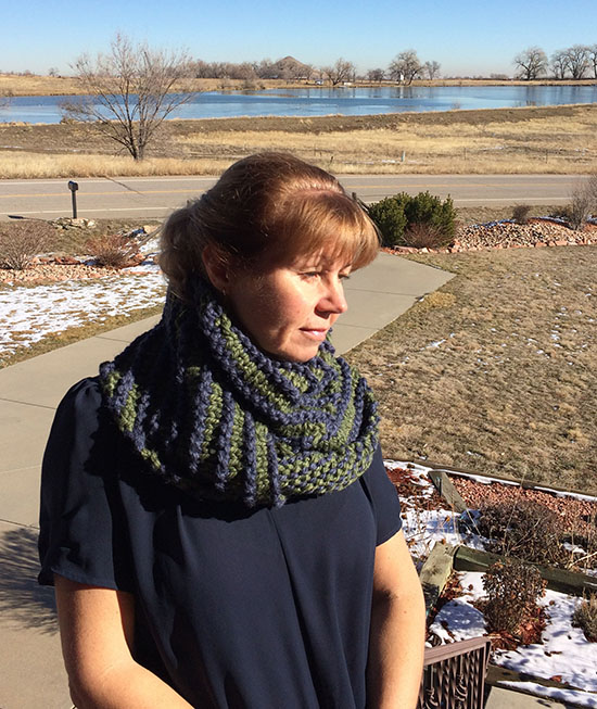 Outland Scarf wrapped around neck