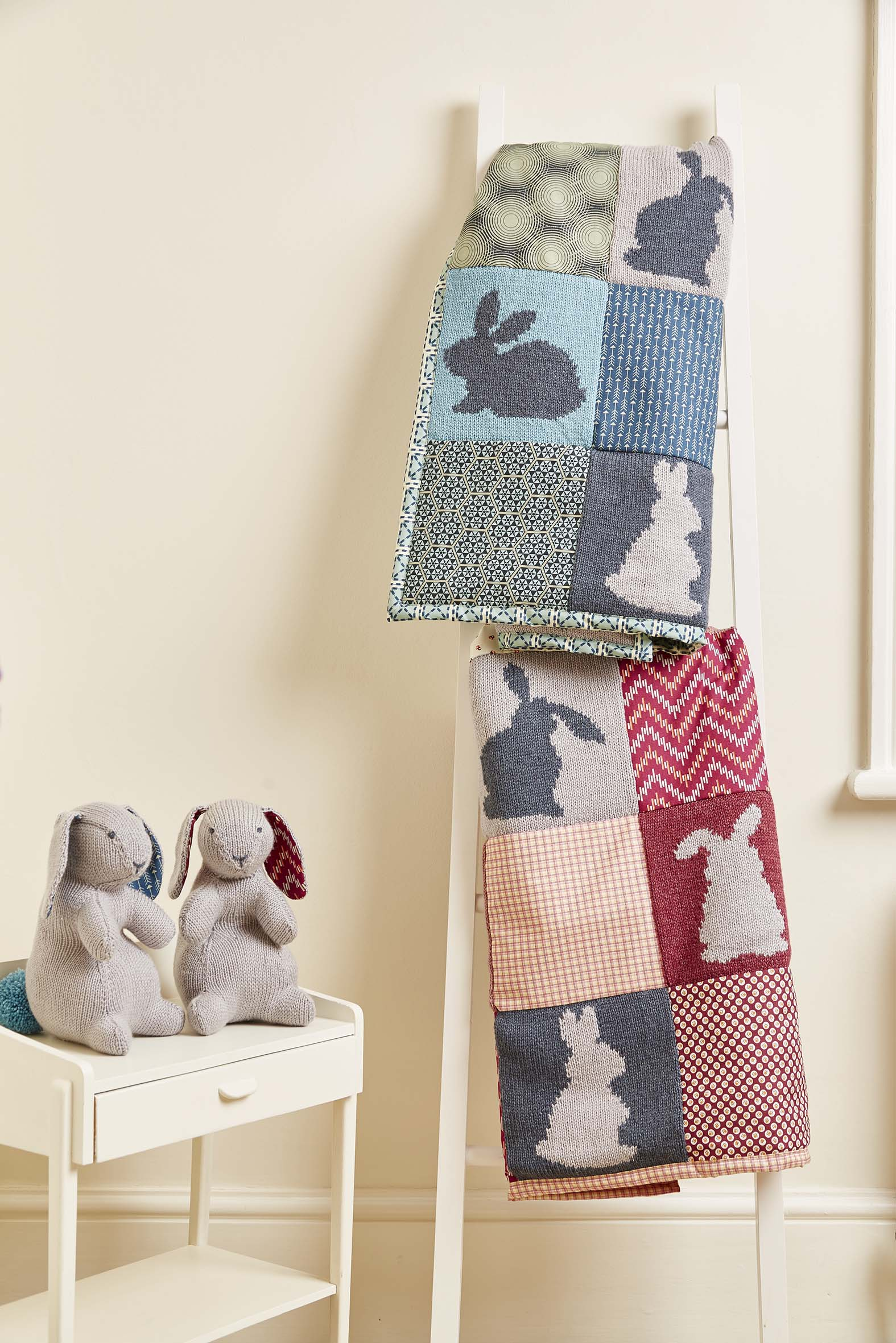 Knitted Nursey Collection Bertie and Bea Quilts and Bunnies