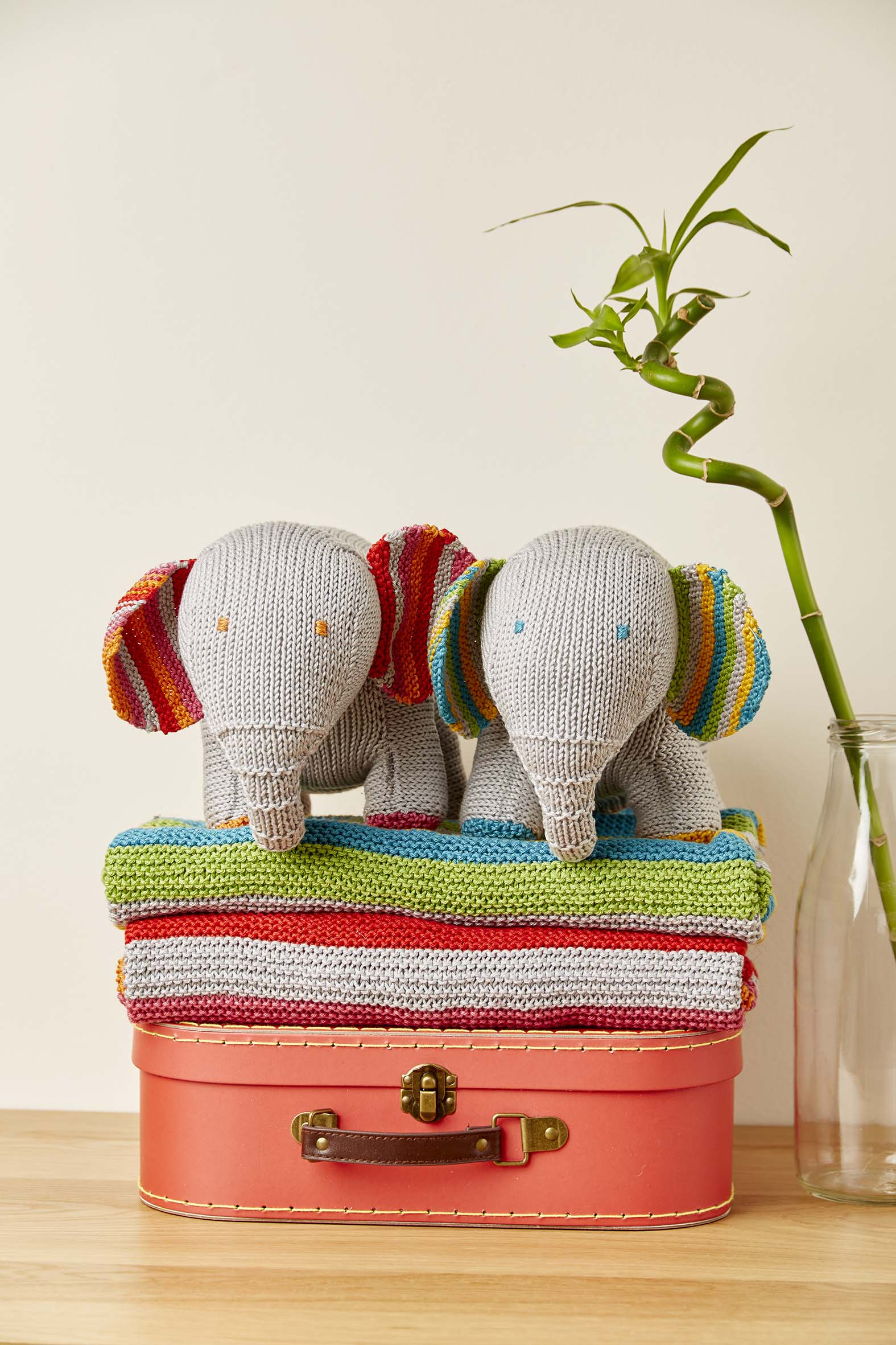 Kniited Nursey Collection Ollie and Polly Toy Elephant