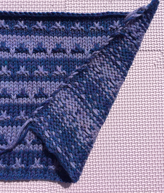 Photo of Edge of knitting Carrying Yarn up side of work