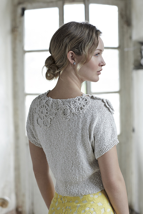Eloisa, short sleeve hand knitted top, back view