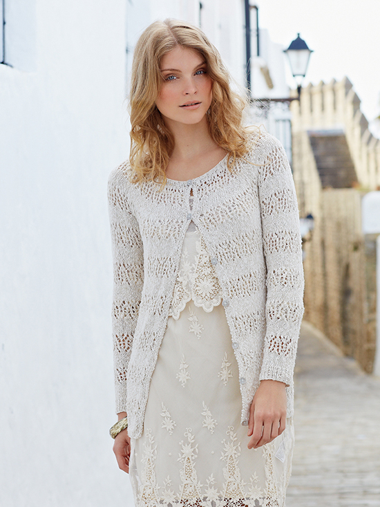 Loudres, a lace and stocking stitch cardigan designed by Vibe Ulrik and knitted in Rowan Panama