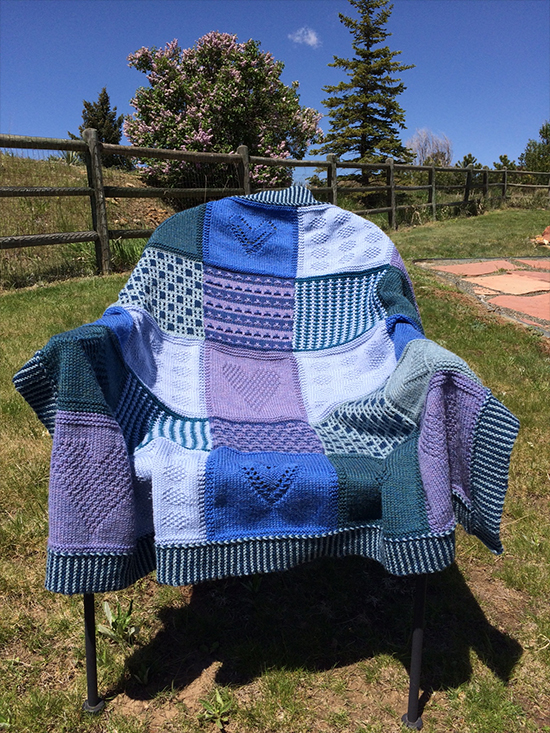 Martin Storey KAL 2016 Blue shades on a chair
