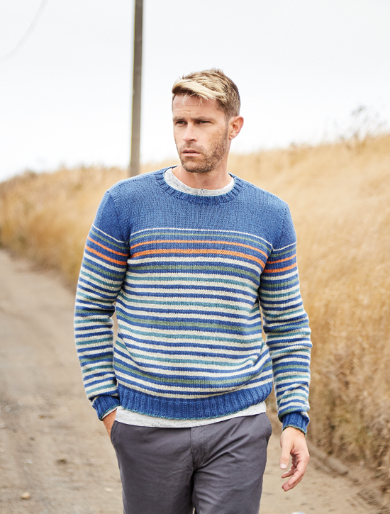 Chalkwell: A striped family sweater in a huge range of sizes 23-54in chest, worked in Softyak DK, designed by Brandon Mably