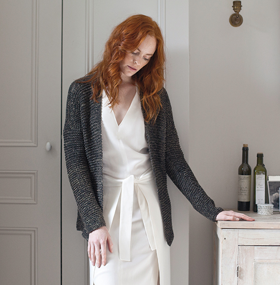 Simple garter stitch cardigan by Wool And The Gang