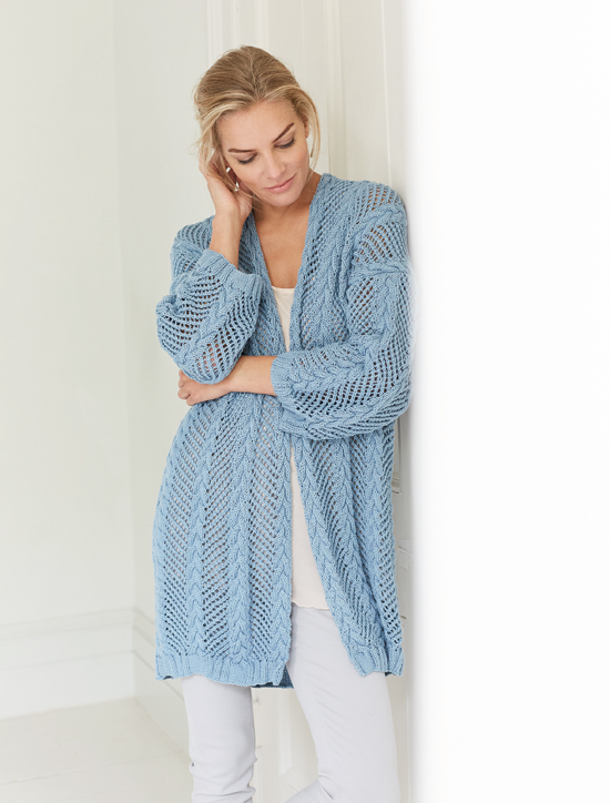 Destiny: A longer length cardigan in Handknit Cotton designed by Martin Storey