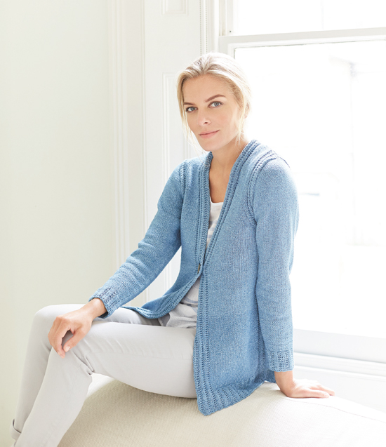 Essence: A casual ladies cardigan in Original Denim designed by Lisa Richardson