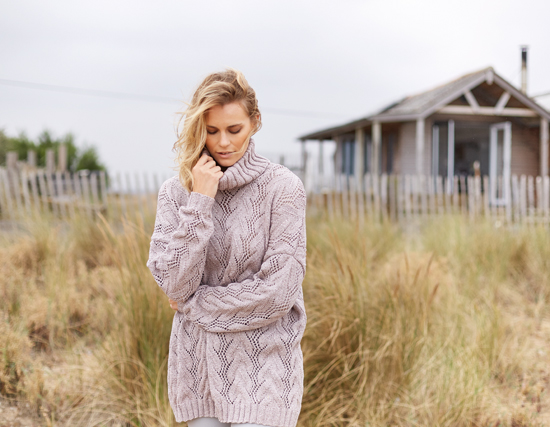 Hithe: An oversized ladies sweater in Softyak DK, designed by Lisa Richardson
