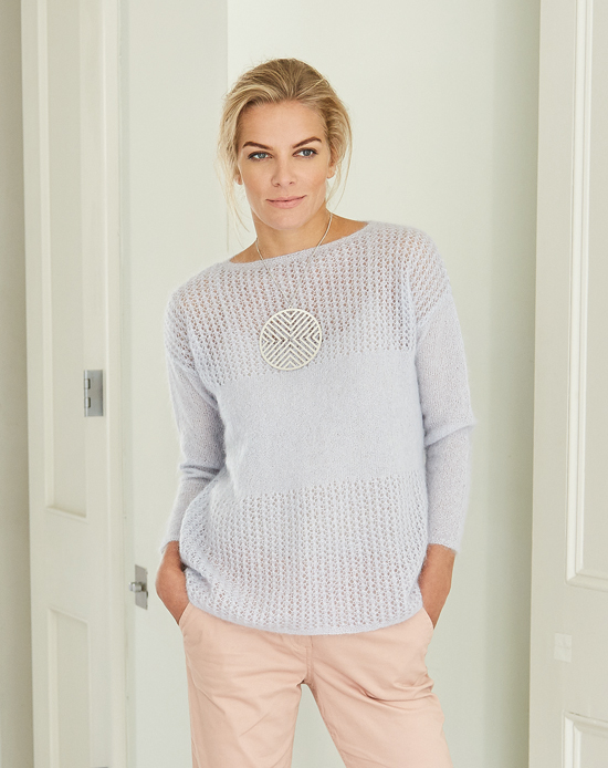 Kali: A pretty sweater in Kidsilk Haze designed by Marie Wallin