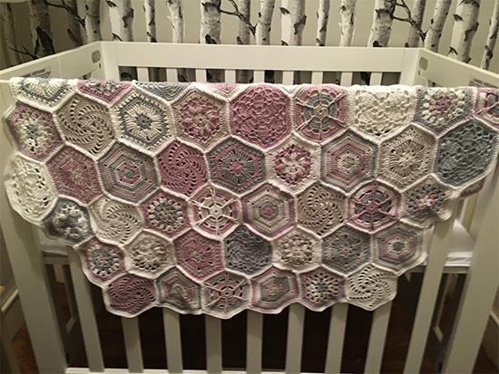 Crochet baby blanket in Rowan Summerlite 4ply
