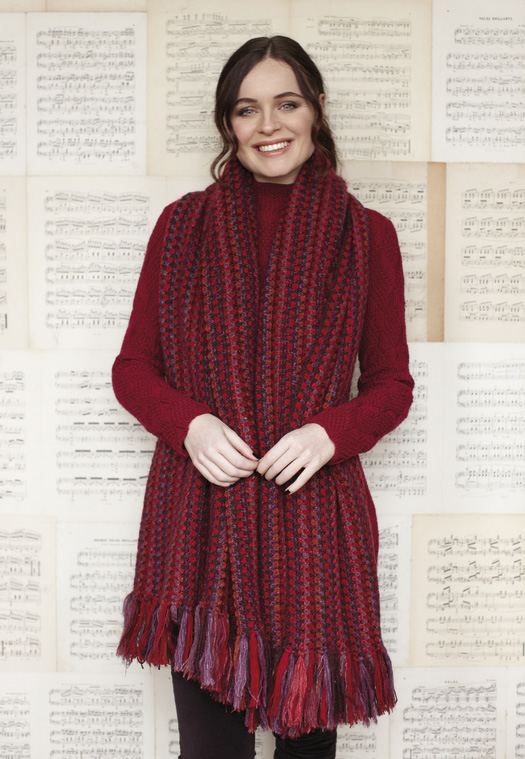 Vermillion designed by Sasha Kagan using Kid Classic, Valley Tweed, Kidsilk Haze, Felted Tweed and Cashmere Tweed.
