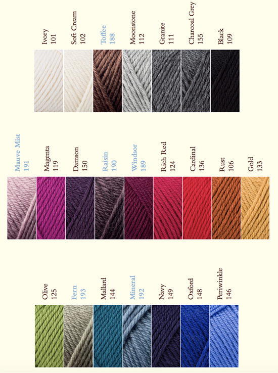 Rowan Pure Wool Superwash Worsted Shades 2019