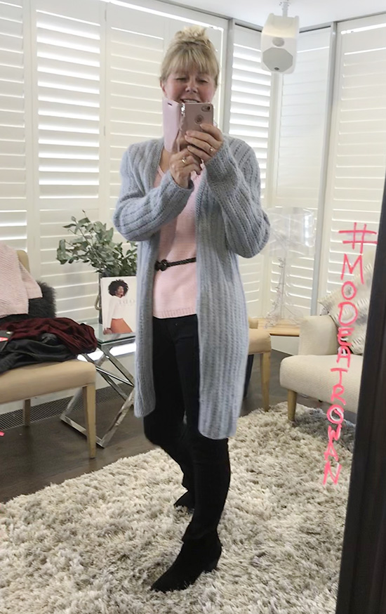 Esther in Long Blue MODE Cardigan